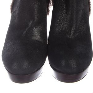 Tory Burch Shoes - Tory Burch black suede ankle boots w shearling